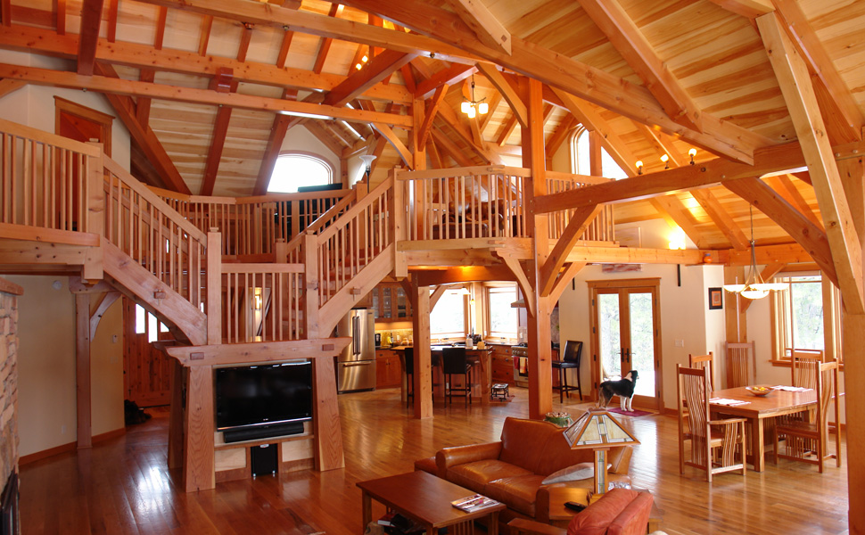 Timber frame home designs and floor plans examples great Post frame homes plans