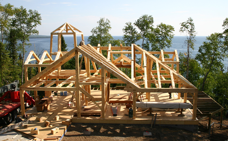 Custom timber frame home design construction minnesota for Timber frame farmhouse plans